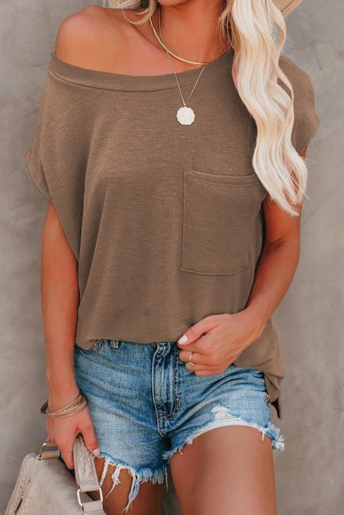 Valerie Women Pocketed Tee with Side Slits Brown