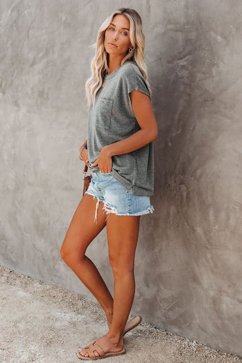 Valerie Women Pocketed Tee with Side Slits Gray