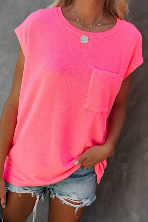 Valerie Women Pocketed Tee with Side Slits Rose
