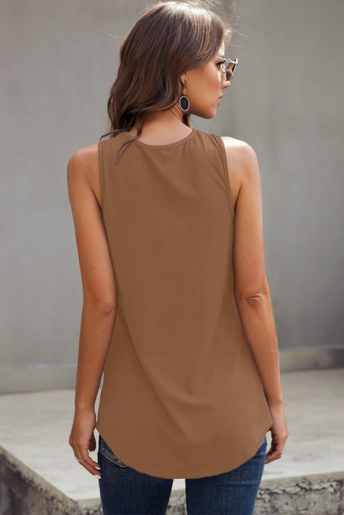 Vanessa Women's Just Say The Word 3 Button Tank Top Brown