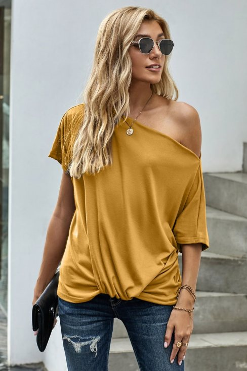 Victoria Womens Off-The-Shoulder Slash Neck Casual Loose Fitting Top Yellow