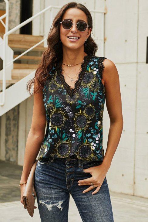 Wilhelmina Women V Neck Lace Trim Floral Tank Black