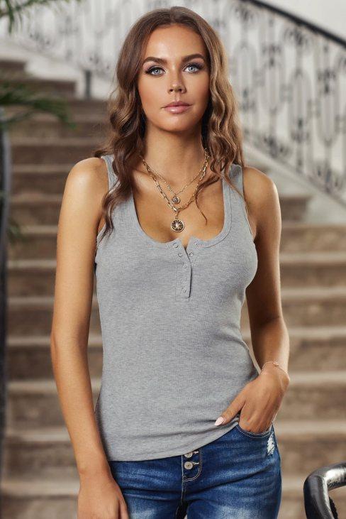 Xenia Women's Sleeveless Scoop Neck Button Tank Top Gray