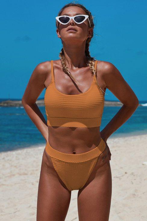 Yale Women's Straps Two Piece Knit Textured Crop Bikini Swimwear Orange