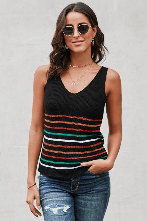 Yvonne Womens Stripes Black Knit Tank Top Black