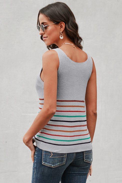 Yvonne Womens Stripes Black Knit Tank Top Gray