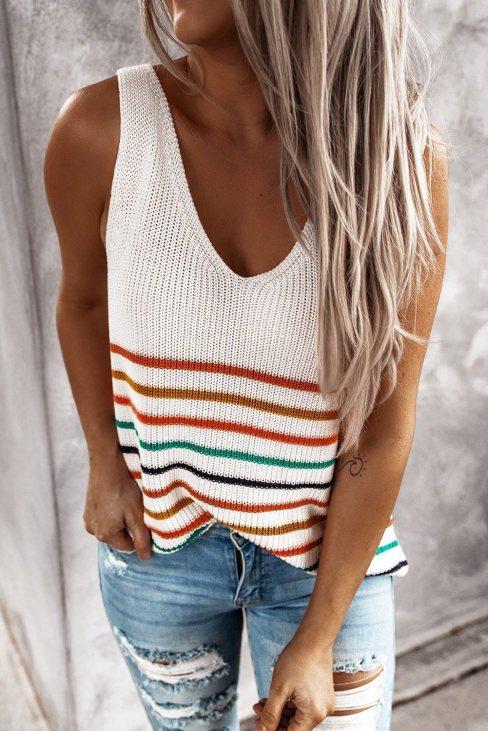Yvonne Womens Stripes White Knit Tank Top White