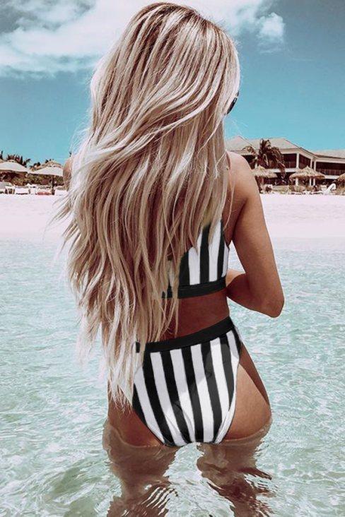 Alia Women's  Neck Athletic Striped Tank High Waist Bikini Black