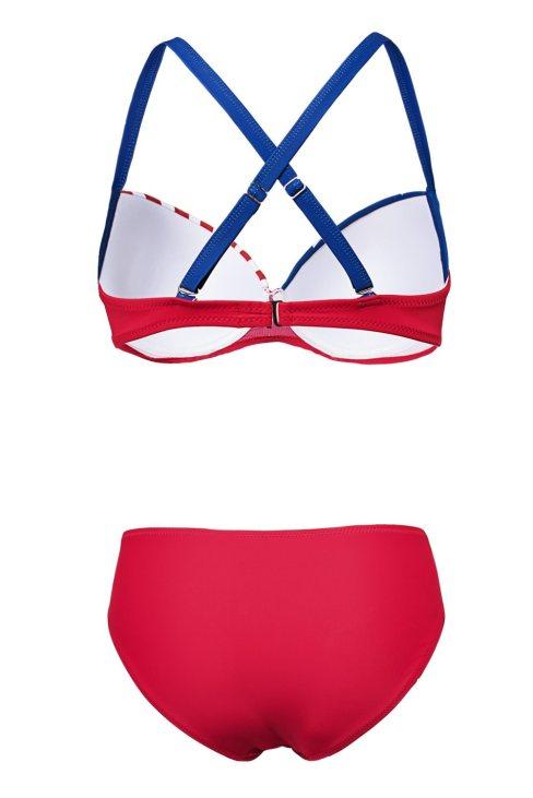 Aurora Women American Flag Bikini Padded Gather Push-up Set
