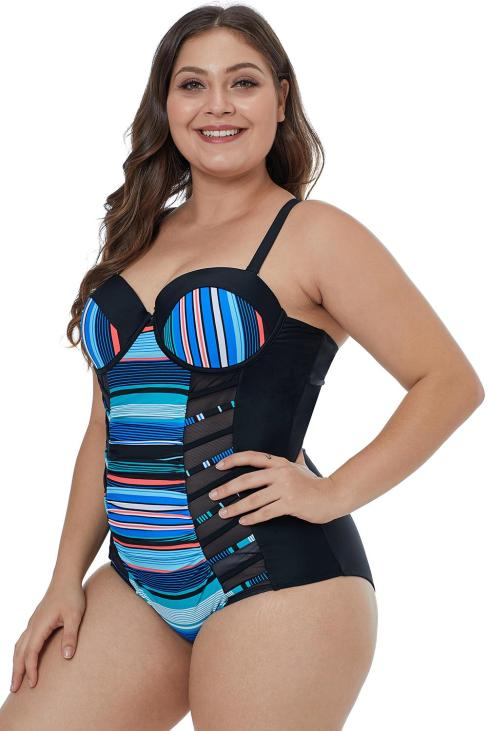 Bianca Women's Striped Block Patchwork Crisscross Plus Maillot Black Blue