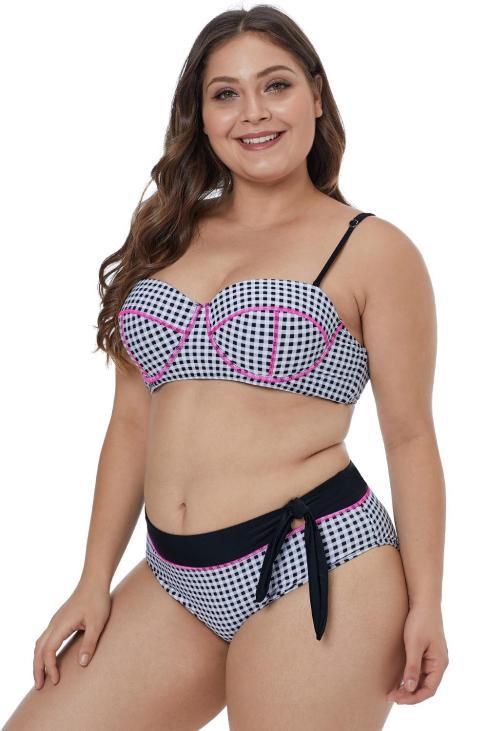 Brenda Women Contrast Piping Tartan Printed Pattern Plus Size Bikini