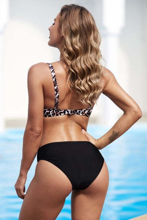 Camille Womens Twisted Bust Leopard Bikini Set