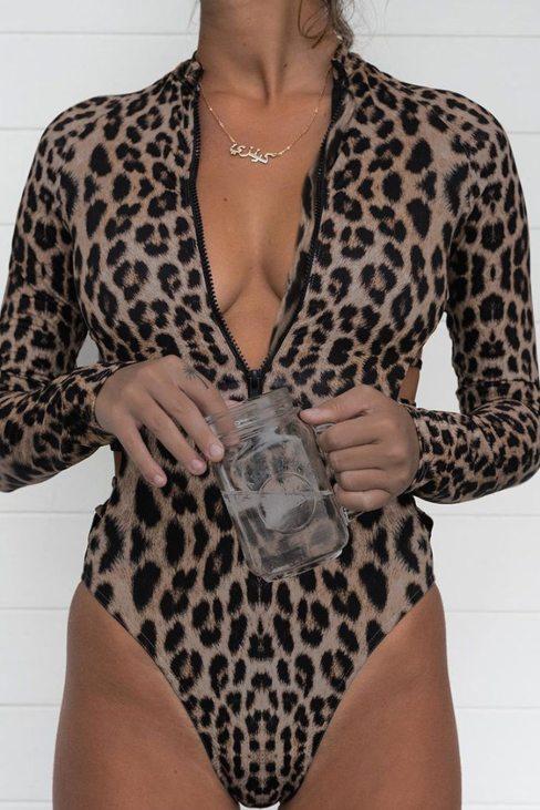 Carmen Women Leopard Print Zipper Cut-out Rash Guard Swimsuit