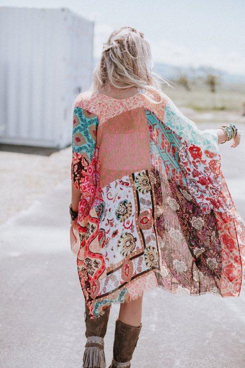 Claire Womens Bohemian Floral Print Kimono Multicolor