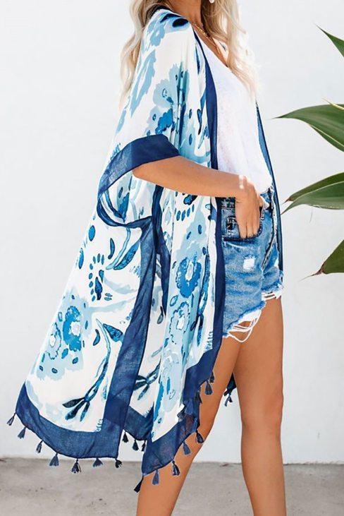 Marcie Bohemian Print Open Front Loose Kimono Beach Cover up Blue