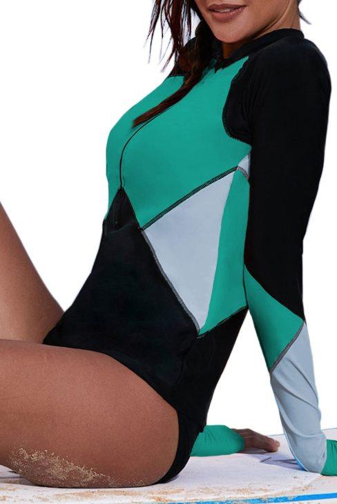 Nancy Womens Zip Front Color Block Print Long Sleeve Rashguard Top Green