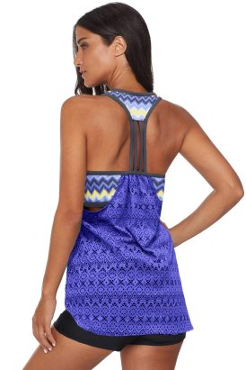 Nia Women's Printed Patchwork Vest Tankini Top