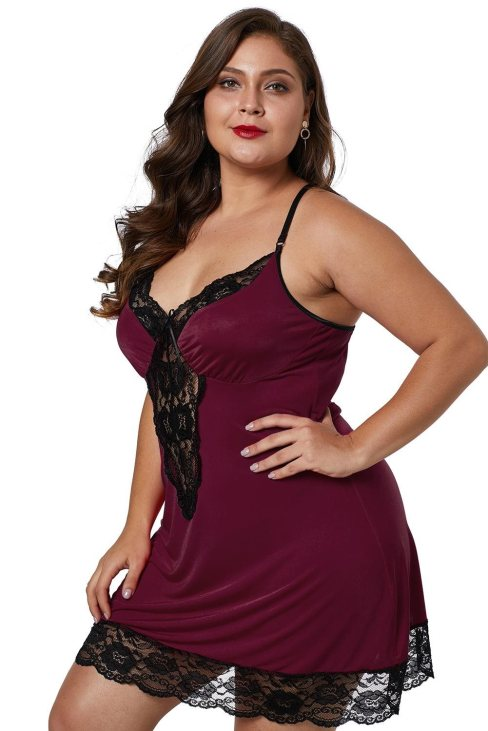 Thalia Womens Sexy Lace Trim Plus Size Satin Silky Lingerie Wine Red