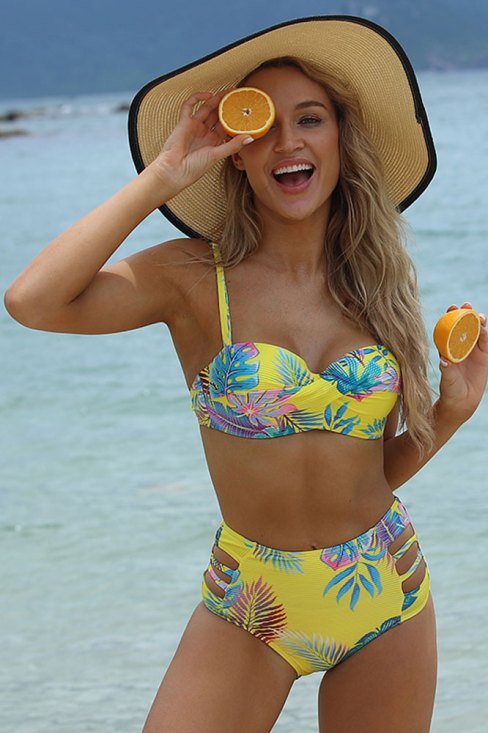 Adelaide Floral Printed Push up High Waist Bikini Set
