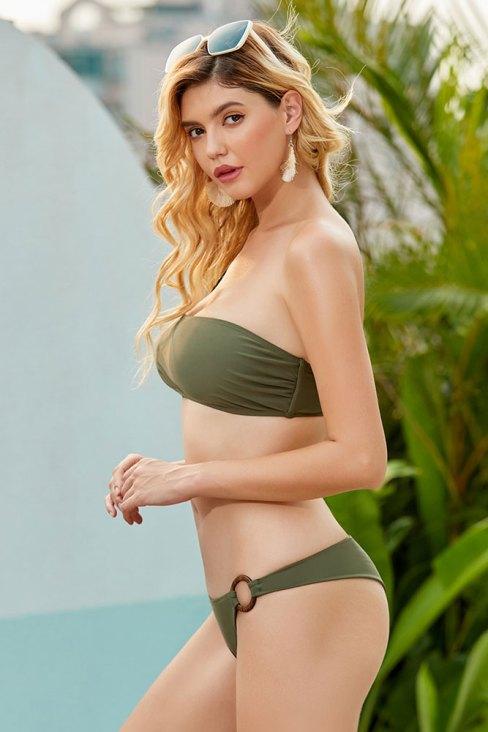 Adelia Women's One Shoulder Bikini Backless Two Piece Swimsuits Green
