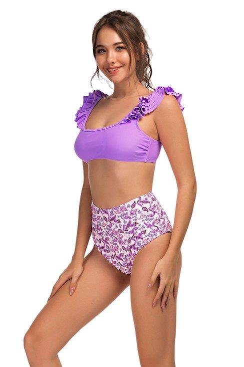 Bess Women's Ruffled Shoulder Printed Bottom High Waist Bikini