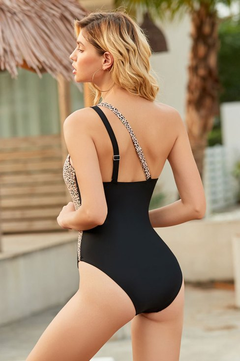 Astrid Womens One Shoulder One Piece Swimsuits Leopard Patchwork Black