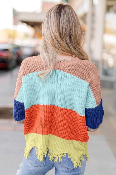 Abella Women's Apricot Colorblock Distressed Sweater