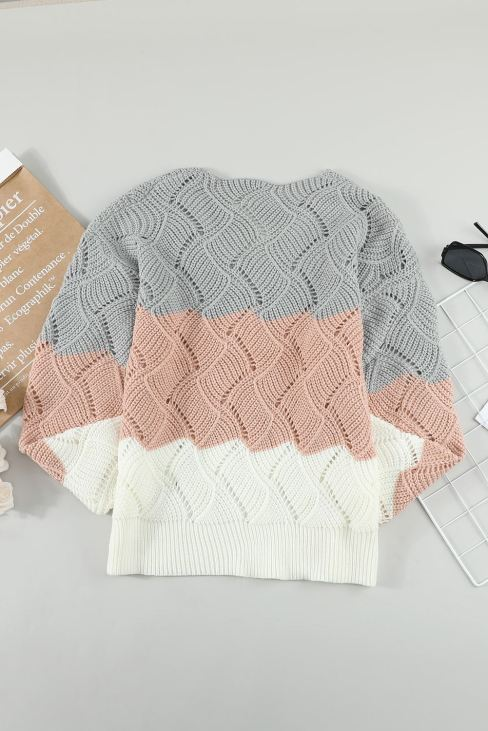 Abigail Womens Knitted Cut Out Pullover Sweater Pink Color Block