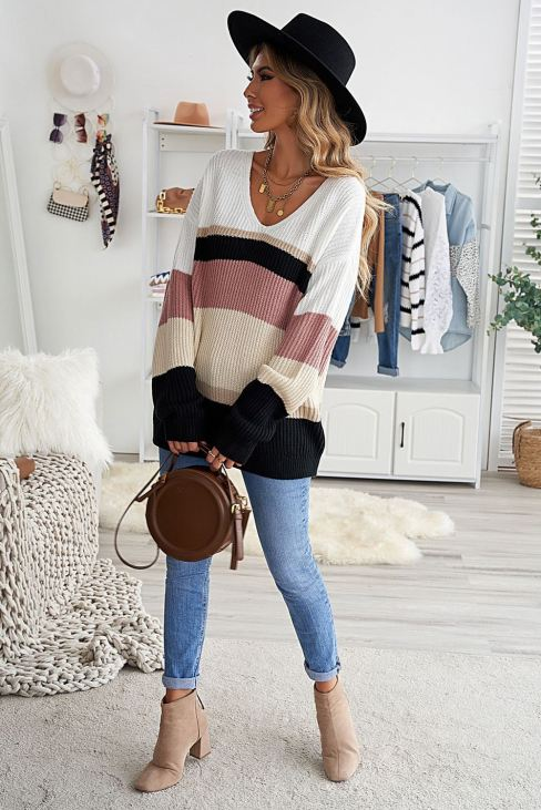 Alyssa Women's Brown Colorblock V Neck Ribbed Knitted Sweater