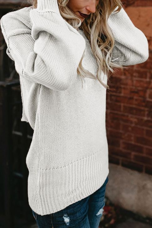 Beata Women Hollow-out Back Sweater with Tie White