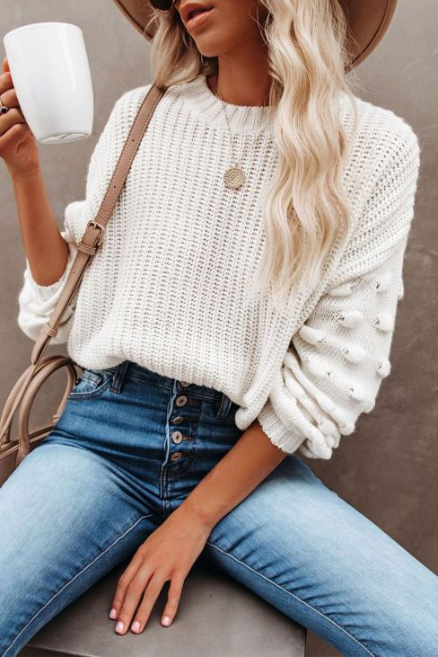 Becky Womens Bubble Sleeve Cropped Knit Sweater White
