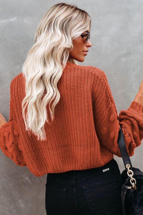 Bela Women Cropped Knit Sweater Bubble Sleeve Brown