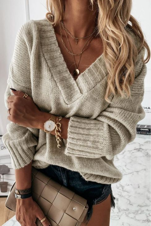 Dalila Womens Knitted Sweater V Neck Khaki Drop Shoulder