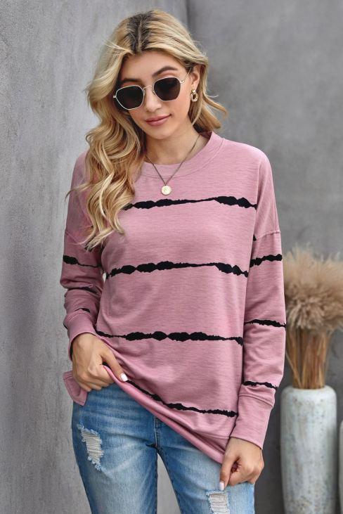 Edlyn Women Pink Sweatshirt Tie-dye Stripes