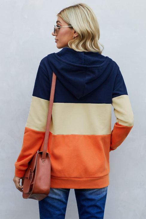 Effie Womens Zip Front Color Block Splicing Drawstring Hoodie Orange