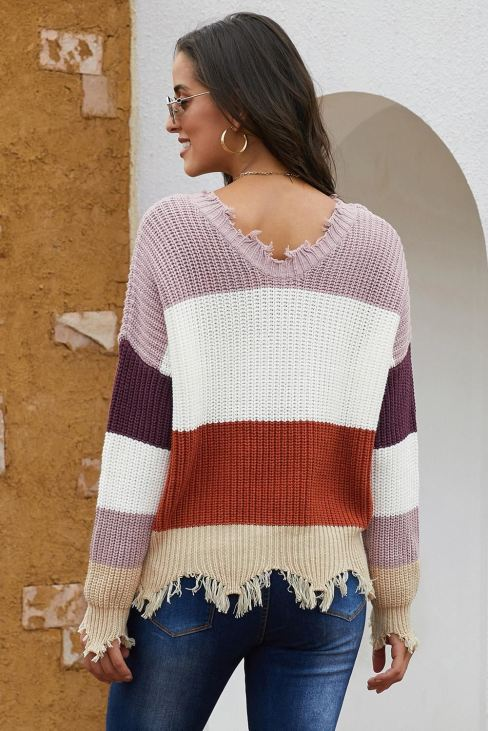 Jessica Women Colorblock Distressed Sweater