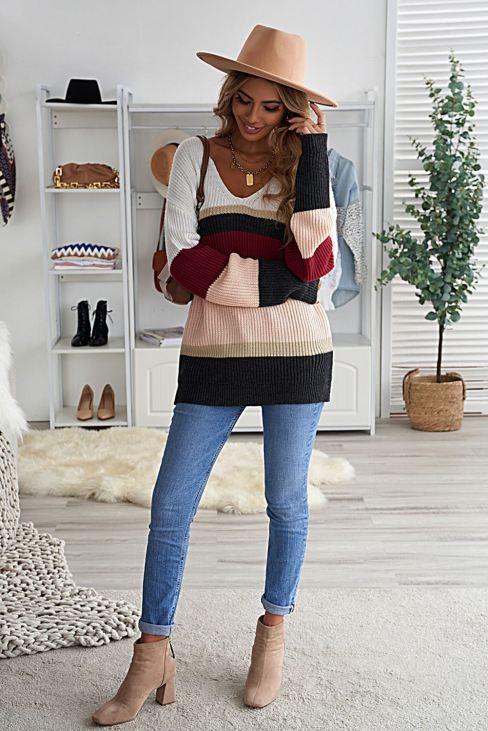 Kayla Womens Colorblock V Neck Ribbed Knitted Sweater Khaki