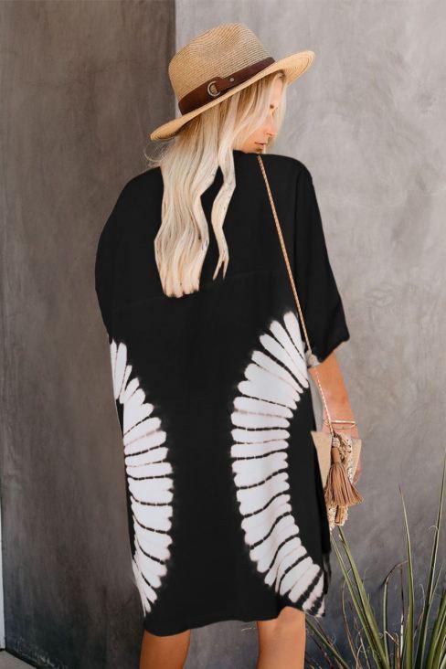 Lauren Women's Black Tie Dye Open Front Kimono Cardigan