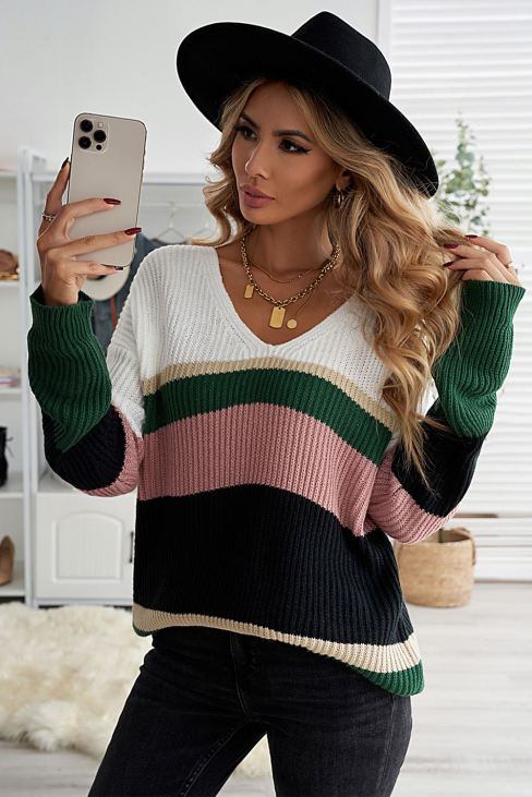 Mia Womens Colorblock Sweater V Neck Ribbed Knitted Green