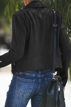 Nerissa Womens Zipped Notch Collar Short Jacket Black
