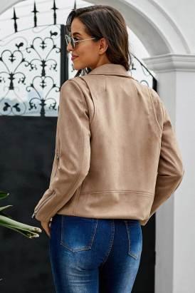 Neysa Women's Khaki Zipped Notch Collar Short Jacket