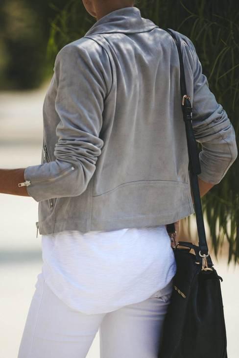 Neysa Womens Light Gray Zipped Notch Collar Short Jacket