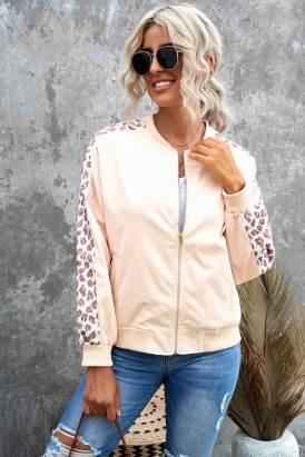 Nicole Women Leopard Color Block Zipped Long Sleeve Jacket