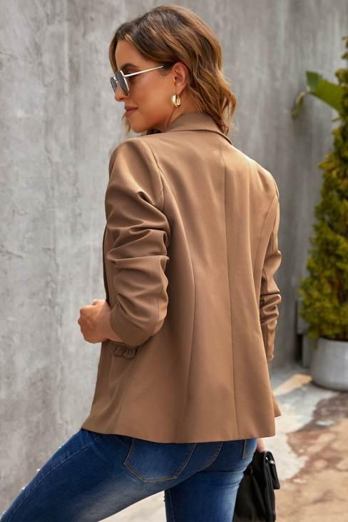 Nicole Women's Brown Lapel Collar Button Pocket Blazer