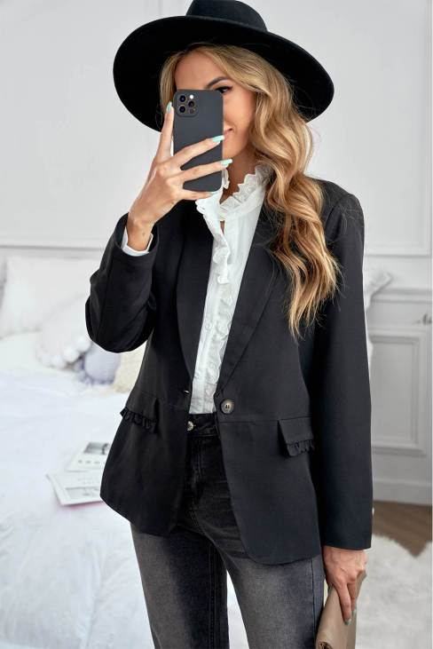 Nicole Womens Lapel Collar Button Pocket Blazer Black
