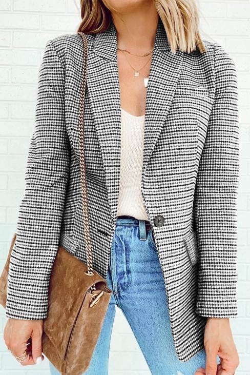 Nina Women's Black Plaid Print Lapel Collar Buttoned Blazer