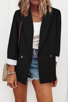 Nissa Women's Black Buttoned Lapel Collar Blazer with Pocket