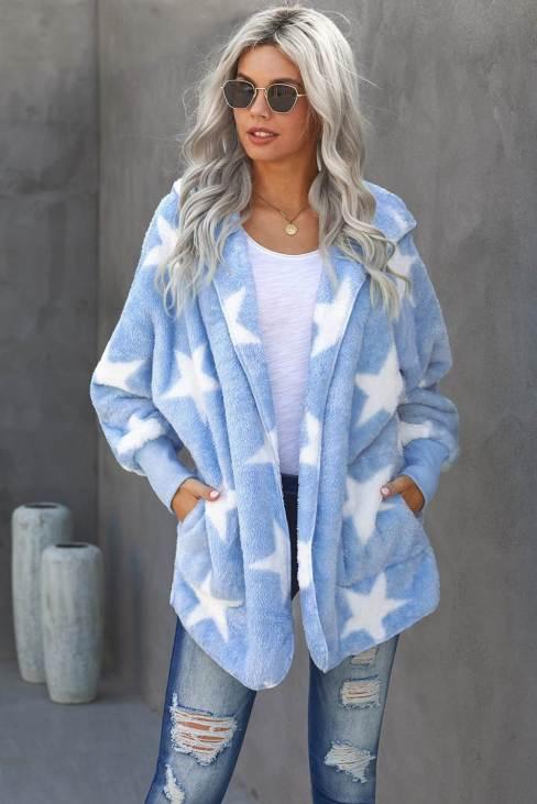 Nita Women's Sky Blue Lapel Collar Scatter Star Fuzzy Coat