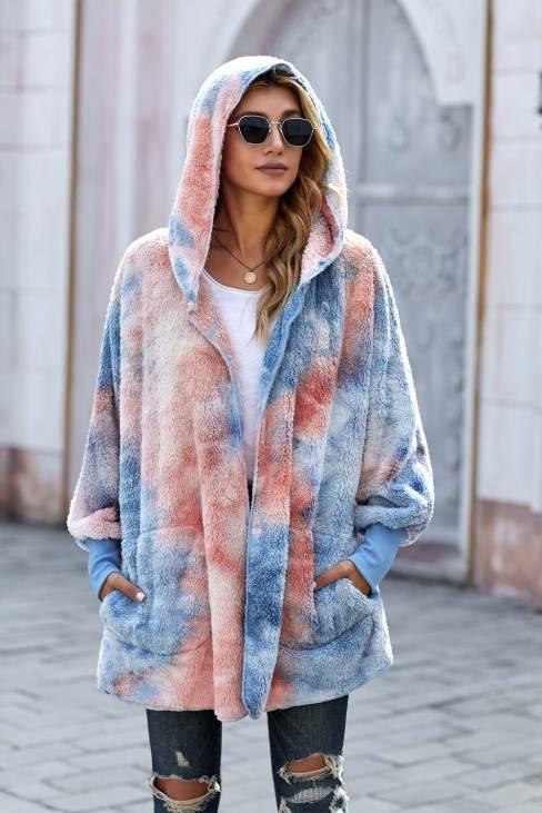 Nona Womens Tie Dye Soft Fleece Hooded Open Front Coat