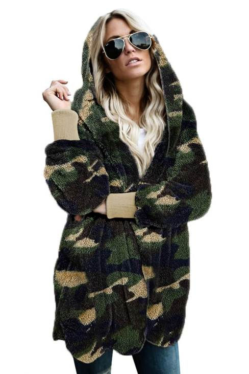Nora Women's Green Camo Print Soft Fleece Hooded Open Front Coat